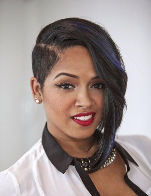 peinados cortos bob asimétrico para mujeres negras