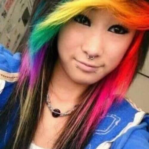 peinados emo largos para niñas arco iris cabello