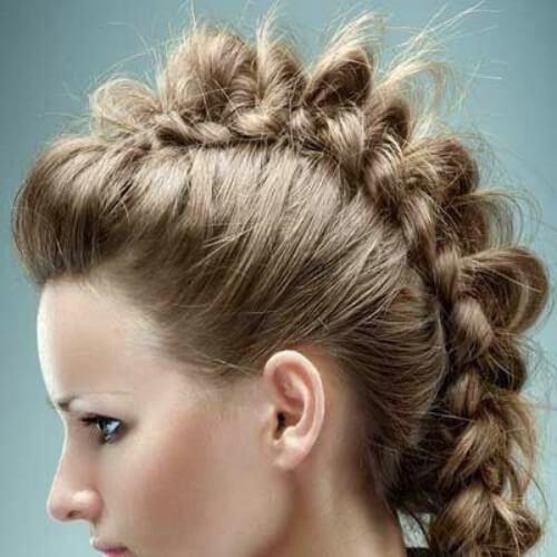 peinados trenza fauxhawk para el pelo largo