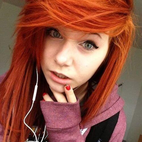 corte de pelo del emo del pelo de la mandarina