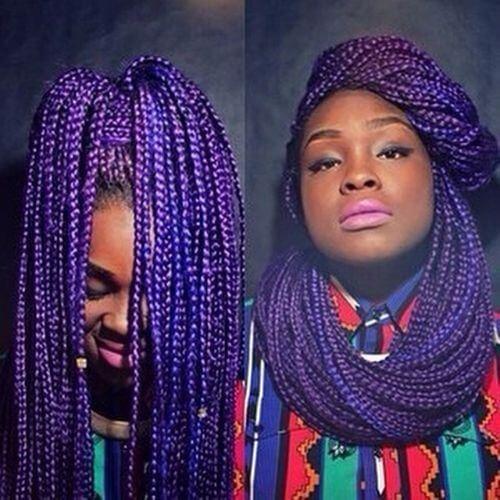 peinado trenzas caja púrpura