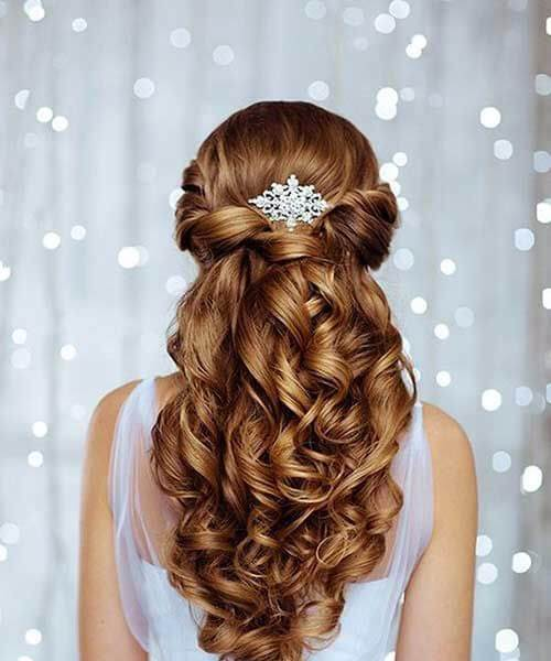 accesorio de la boda peinados largos rizados