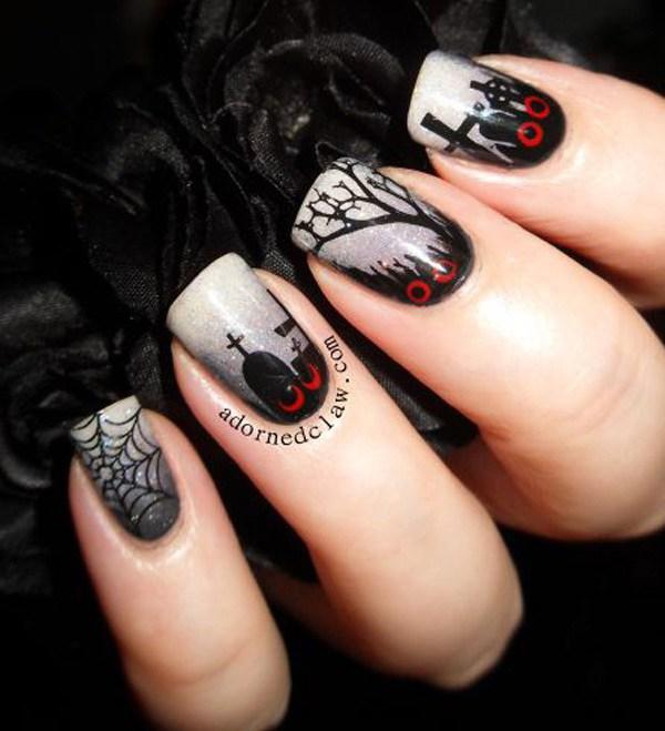 Creepy Cemetery Inspired Nail Art Design.  Ideas de arte de uñas de Halloween.