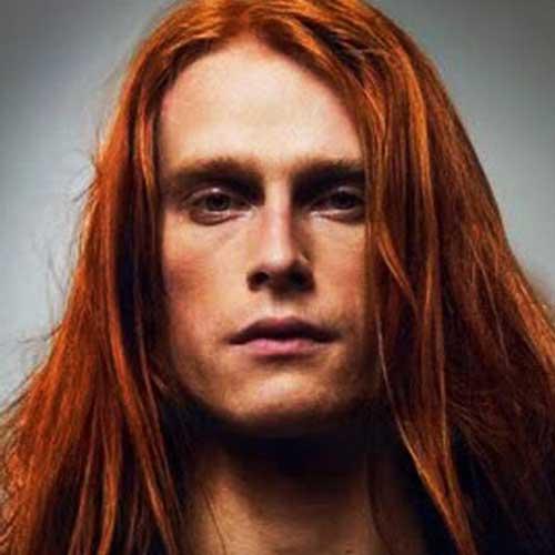 peinados largos rojos rectas para hombres