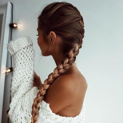 peinados largos y delgados trenzados para cabello largo
