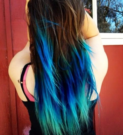 Blonde Teal blue Ombre Hair