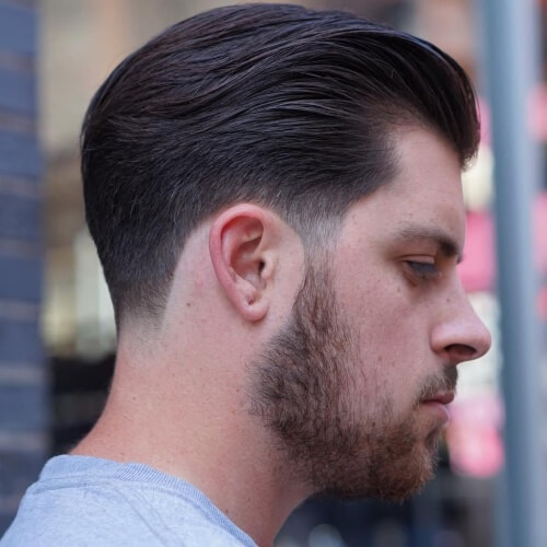 Slicked Back Taper Fade Haircut