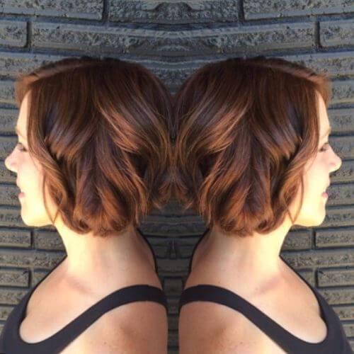color de pelo caramelo en el pelo corto