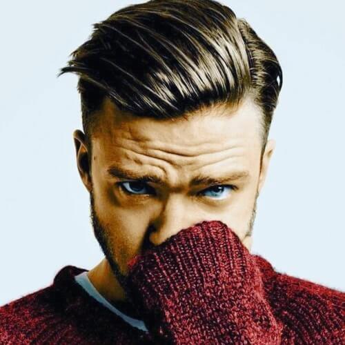 Peinados de Justin Timberlake con acabado lateral