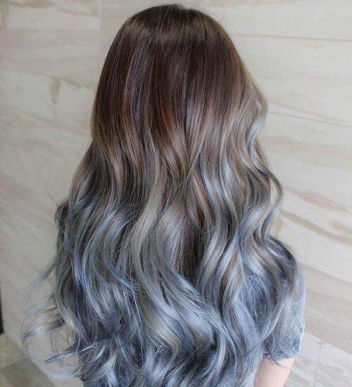 Marrón a Pastel Azul Ombre pelo