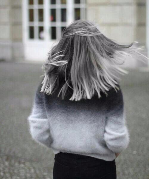 cabello gris bob cortado