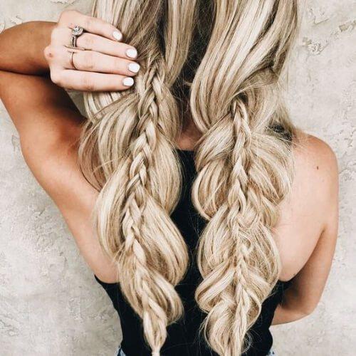 francés y trenzas de tres trenzas para el cabello largo