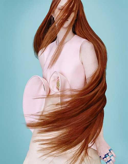 Peinado muy largo de jengibre