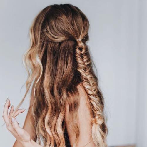 Peinados simples trenzas cola de pez para el pelo largo