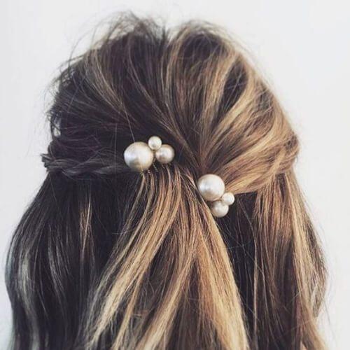 perlas horquillas alfileres para el pelo lacio