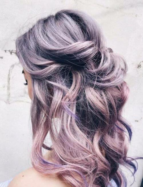 peinados de damas de pelo púrpura
