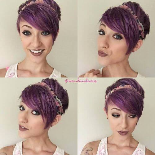 cabello violeta corte pixie en capas