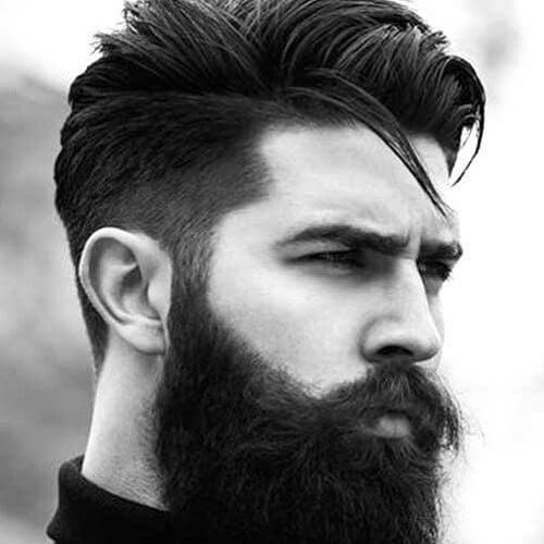 Cabello grueso y barba gruesa