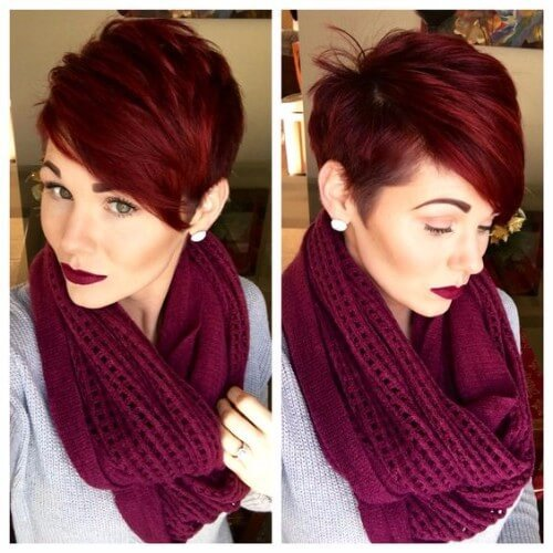 Borgoña rojo Pixie Cut