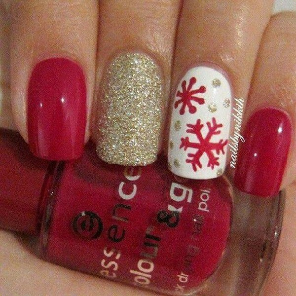Copo de nieve navidad uñas.