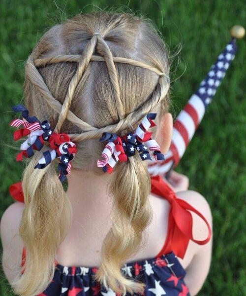 4 de julio pequeños peinados de niña