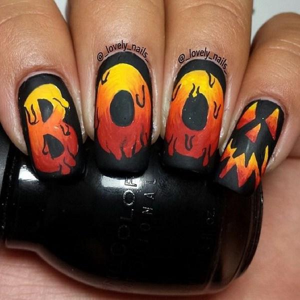 BOO Halloween Nail Art Ideas.  Ideas de arte de uñas de Halloween.