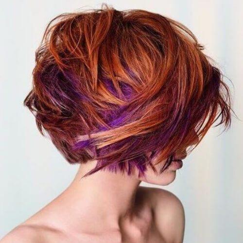 púrpura sobre cobre reflejos altos y bajos
