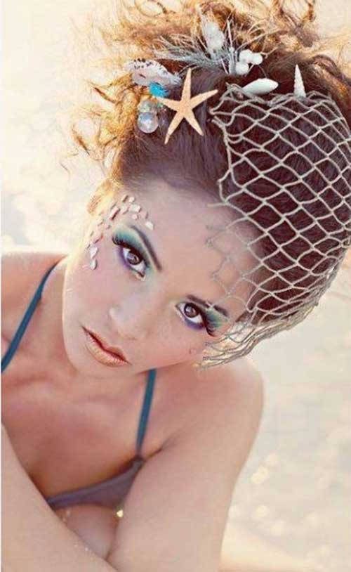 Sirena de la boda de la playa mirada Idea del peinado para el pelo largo