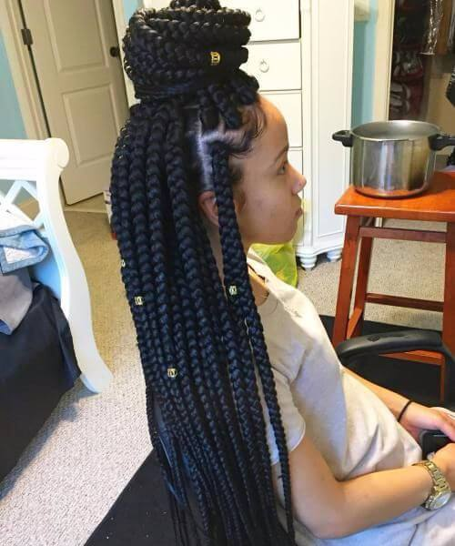 Side Cornrows y Kinky Twists peinados de niña negra