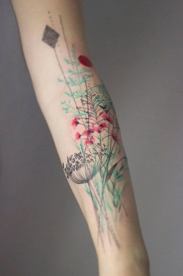 Tatuaje sutil y delicado de vegetales.