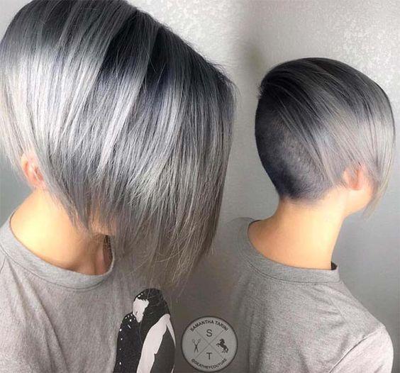 pelo gris mínimo bob afeitado rebajado