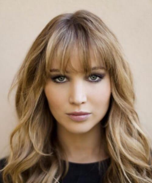 peinados jennifer lawrence con flequillo
