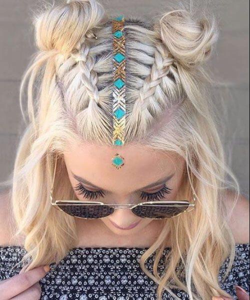 coachella inspirado peinados a la altura del hombro