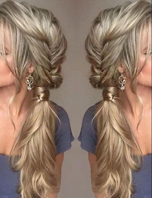 extensiones de cabello rubio sucio damas de honor peinados
