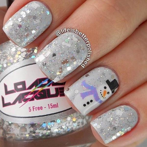 Sparkly Grey Snowman Manicure.