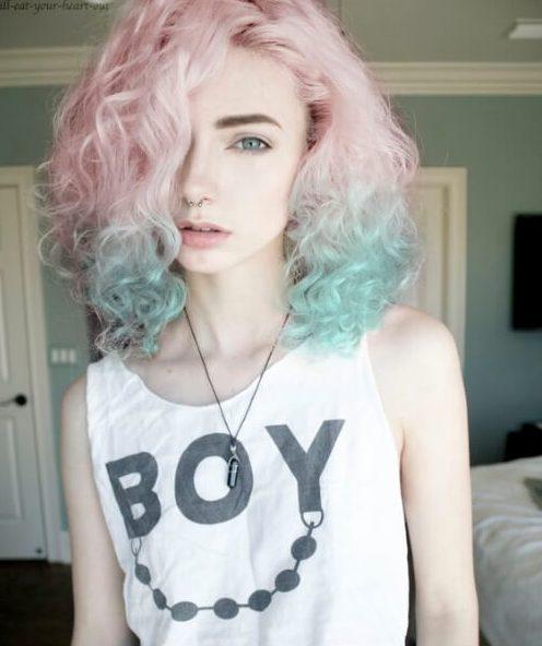color de pelo rosado y verde azulado bob bob
