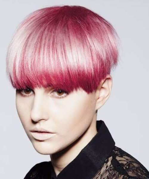 tazón de  larga rosa corte pixie