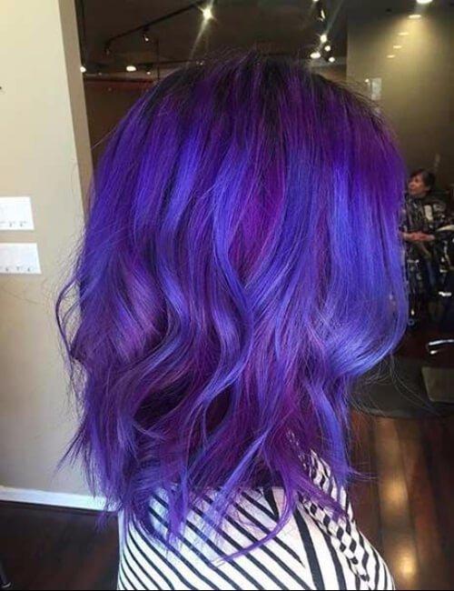 tinte de tinta de cabello púrpura