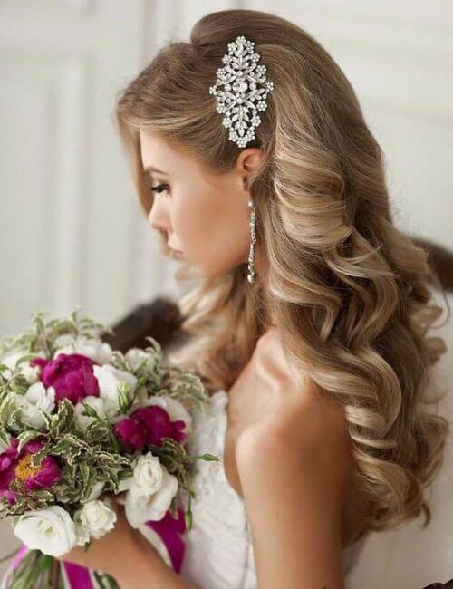 updos boda romántica para cabello largo