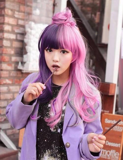 cruella devill cabello rosado y morado