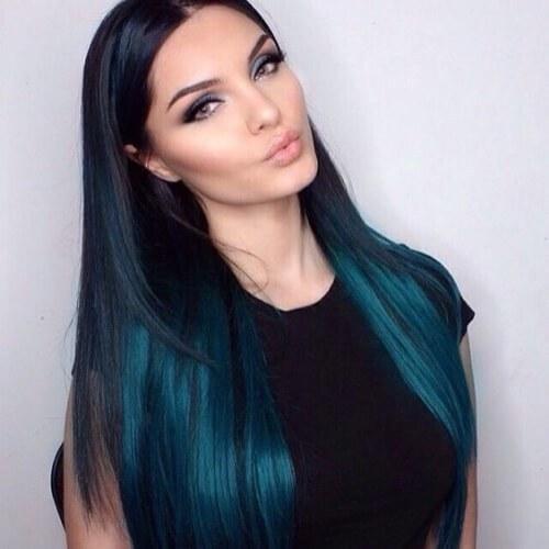 peinados de pelo verde azulado para pelo lacio