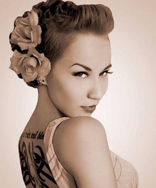 fauxhawk rose doble pin up peinados