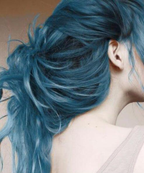color de pelo azul verdoso acuarela
