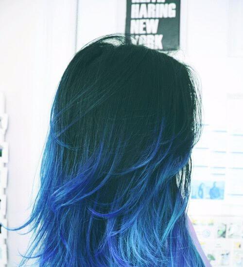 pelo ombre azul
