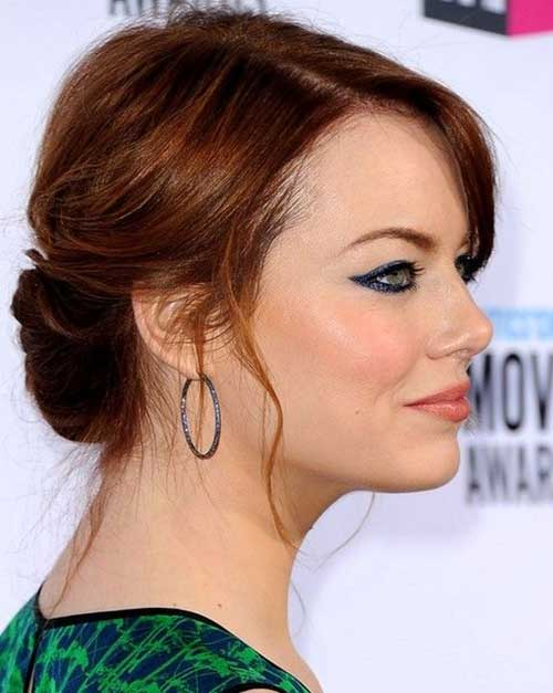 Peinados de Emma Stone Updo Longitud media