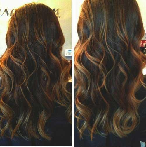 Peinado resaltado marrón-caramelo