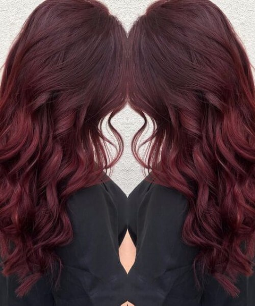 terciopelo rojo caída cabello colores