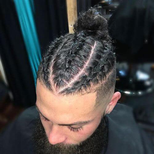 Hombre Braid Bun Black Hairstyle