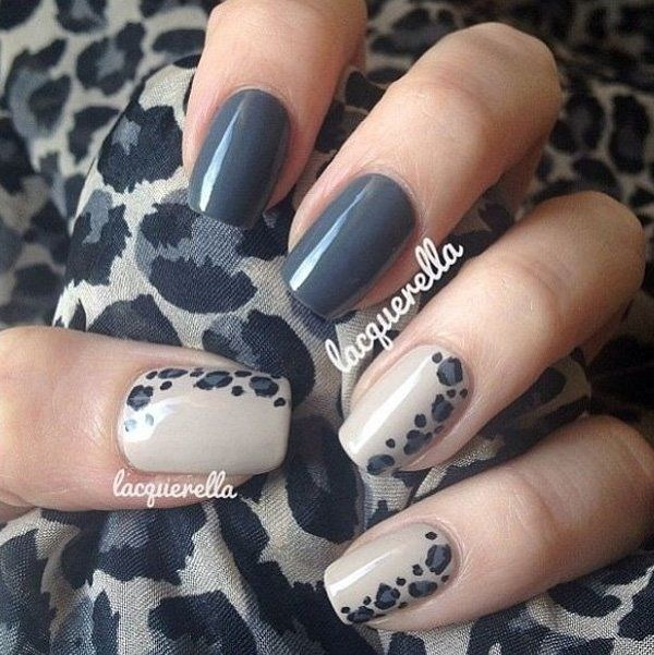 Dark Grey Animal Prints Nail Art Design.