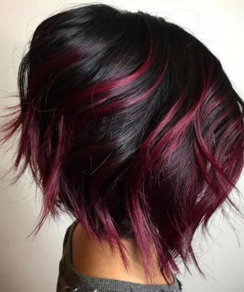 pelo corto balayage rojo cereza